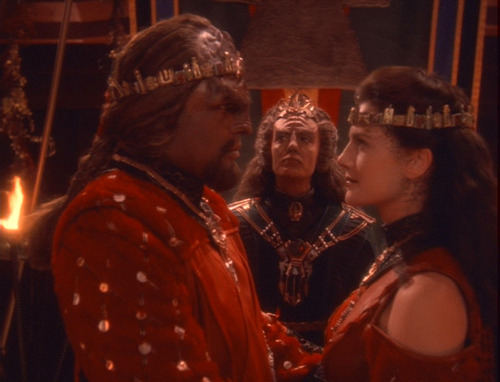Worf and Dax in their wedding regalia