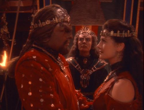 Worf and Dax in their wedding regalia