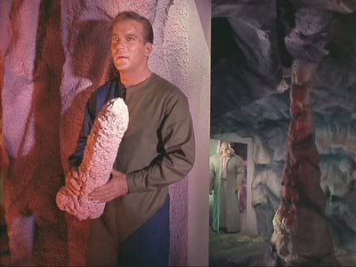 Kirk and giant phallic stalactite