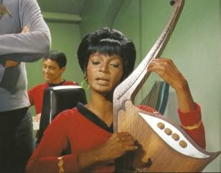Uhura plays the Vulcan lyre