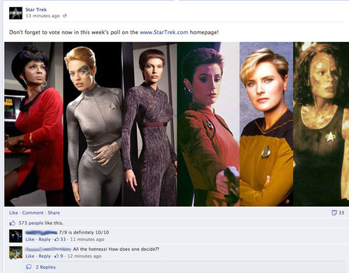 "Post from StarTrek.com Facebook page with comments like ""7/9 is definitely 10/10"""