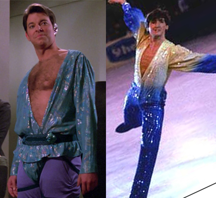 Riker on Angel One in an outfit similar to a figure skater