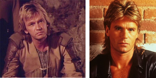 A photo comparing MacGyver with the lookalike character from this episode. Both have blonde mullet-like hair cuts, and are wearing leather jackets.