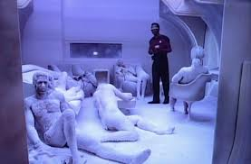 Geordi walks in on a room full of frozen bodies
