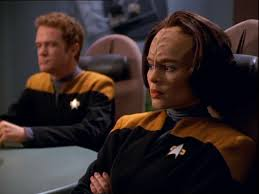 Carey and B'Elanna in the conference room
