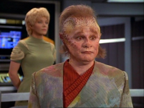 Neelix and Kes on the bridge