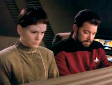 Riker and Soren in a shuttle