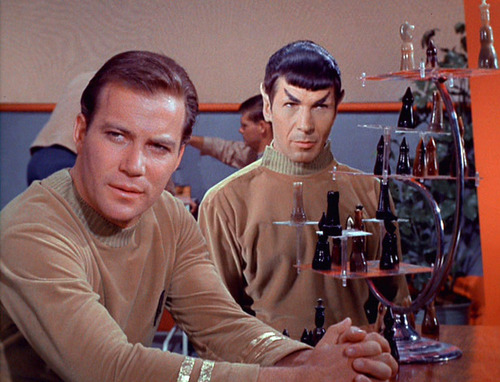 Kirk and Spock playing 3D chess