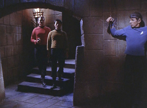 Spock shackled in the dungeon
