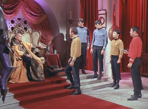 Kirk and crew in Korob's throne room