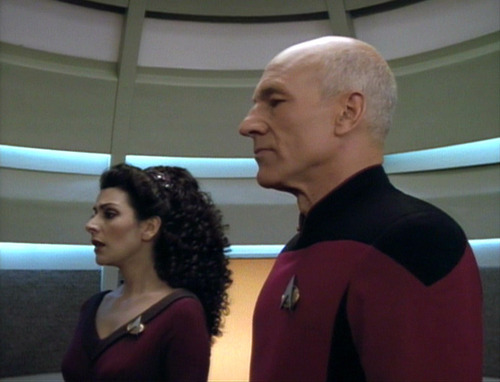 Troi confesses to Picard in the turbolift