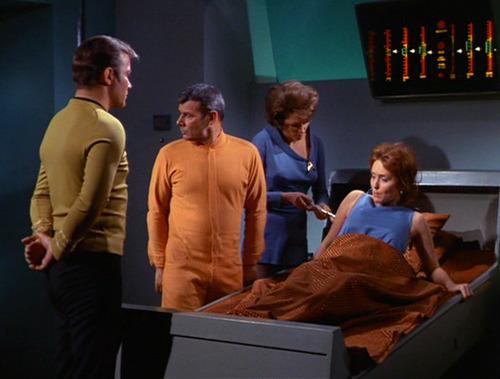 Kirk, in Janice's body, wakes up in Sickbay