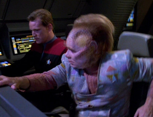 Neelix and Paris in a shuttle