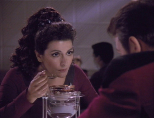 Troi eating a chocolate sundae