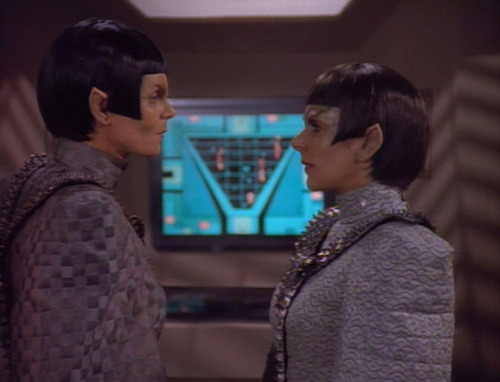 "Troi as Rakal talks to Commander Toreth in ""Face of the Enemy"""