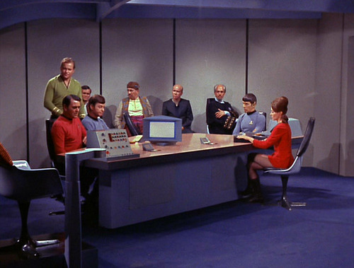 The trial in the Enterprise conference room