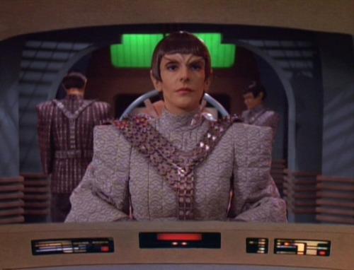 Troi as Rakal on the Enterprise viewscreen