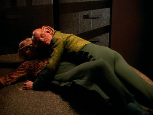 Pel lying on top of Quark when the door opens behind them