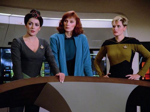 Troi, Crusher and Yar on the bridge