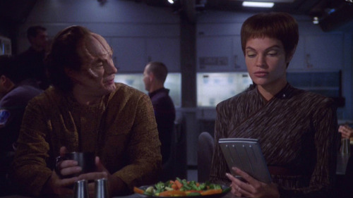 Phlox talks to T'Pol in the mess hall