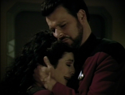 "Riker comforts Troi in ""The Loss"""