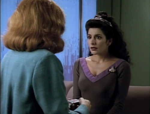 Crusher talks to Troi in Troi's office