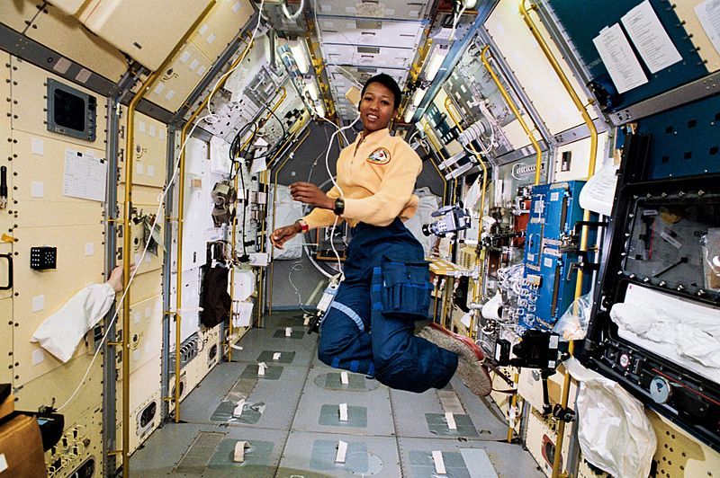 Mae Jemison floats in the Endeavour