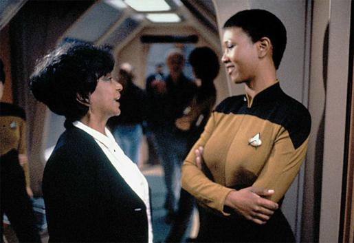Nichelle Nichols and Mae Jemison on the TNG set