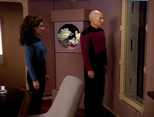 Troi talks to Picard in his Ready Room