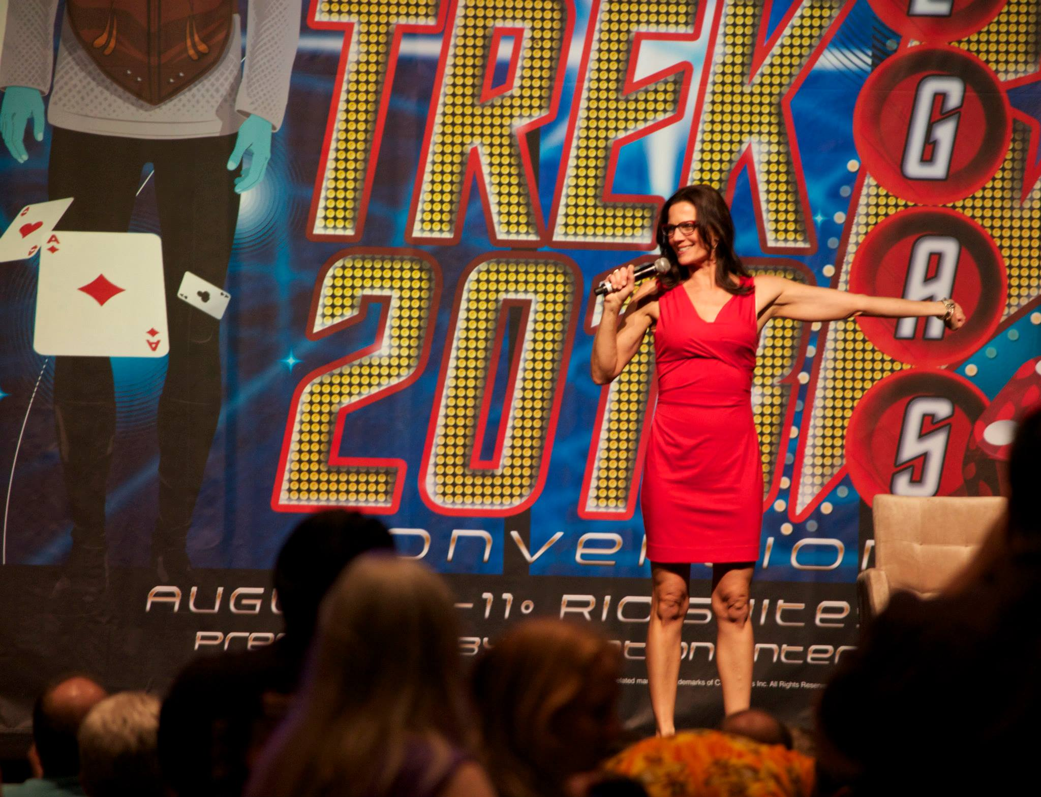 Terry Farrell in a red dress at Star Trek Las Vegas