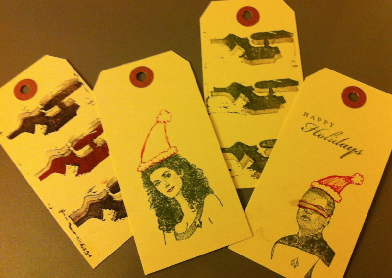 Rubber stamped Trek gift tags
