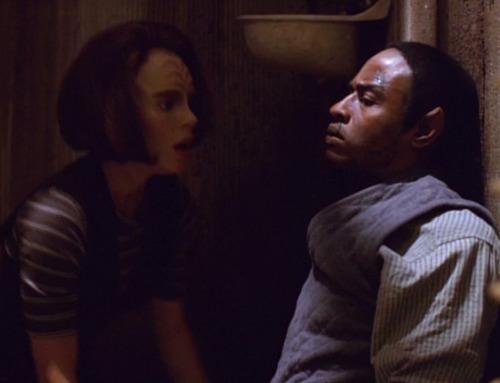 B'Elanna looks at Tuvok's bruised face