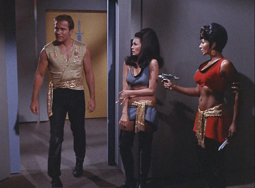 "Kirk, Mirror Marlena, and Uhura in ""Mirror, Mirror"""