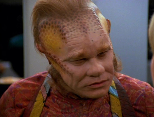 Neelix looking angry in the mess hall