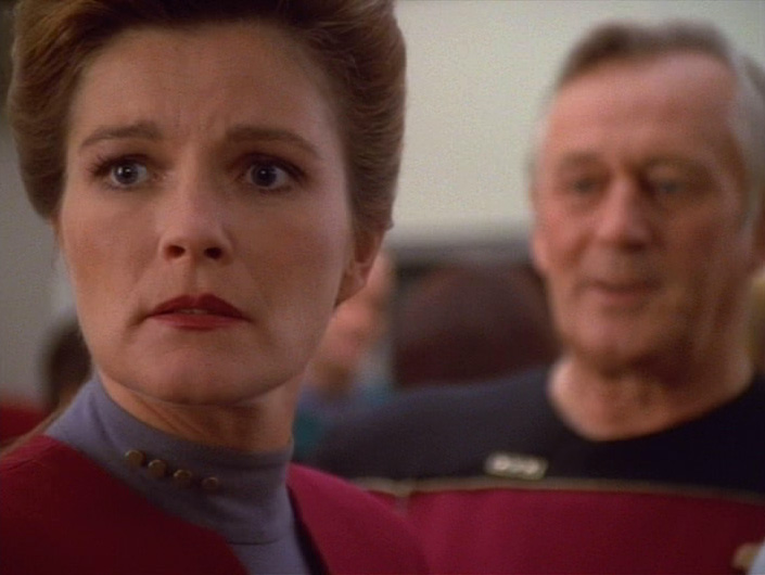 "Janeway and her father in ""Coda"""