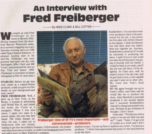 "Photo of Starlog article ""An Interview with Fred Freiberger"""