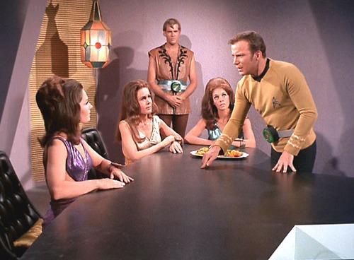 "Kirk talks to three ""alien"" women who look exactly like white human women"