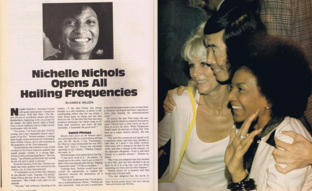 Spread on Nichelle Nichols in Starlog