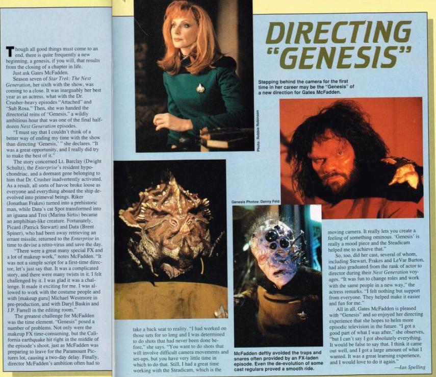 "Photo of Starlog spread on Gates McFadden directing ""Genesis"""