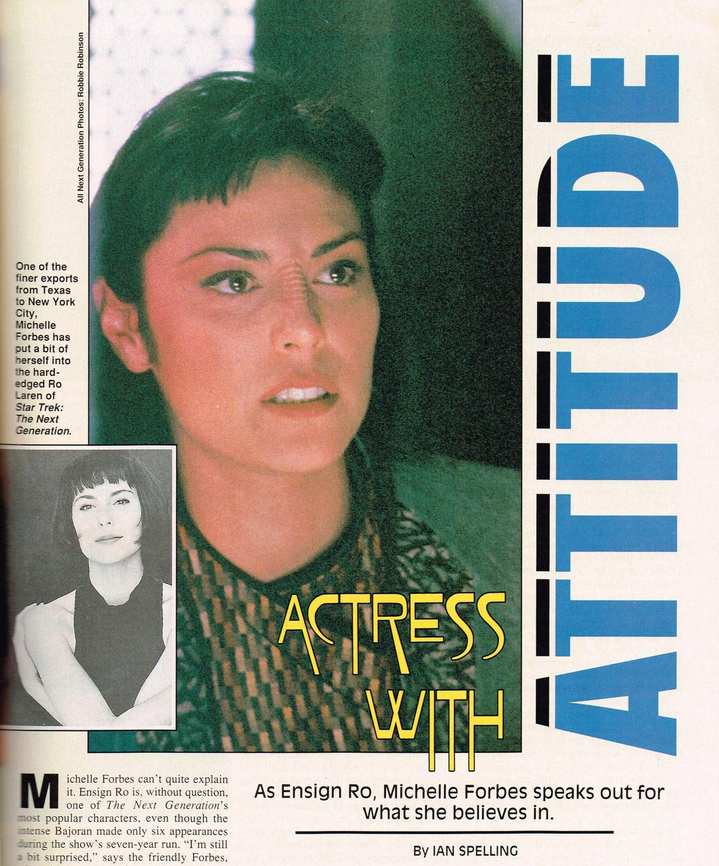 "Page from Michelle Forbes profile in Starlog with large photo and headline ""Actress With Attitude"""