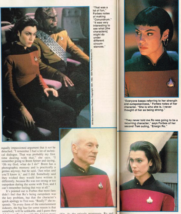 Pages from Michelle Forbes' Starlog profile