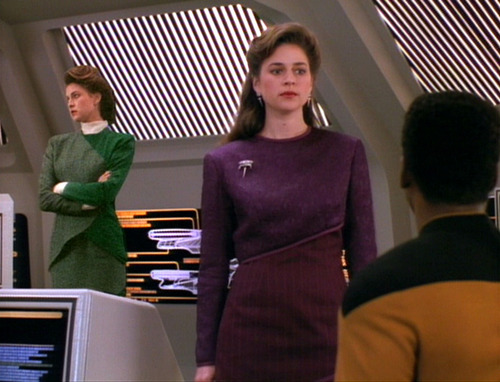 Geordi sees the real Leah Brahms has discovered his holographic version of her