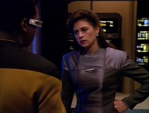 Leah Brahms looks frustrated with Geordi in Engineering