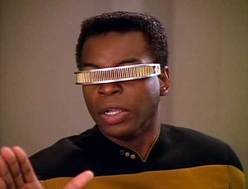 Geordi holds up a hand angrily
