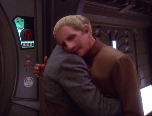 Odo and Dr. Mora hug
