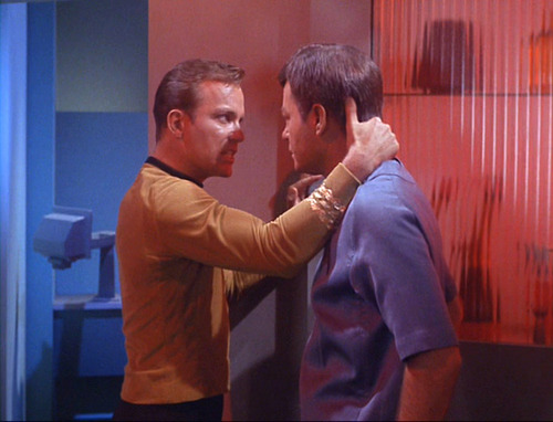 Sweaty Kirk talks forcefully to McCoy