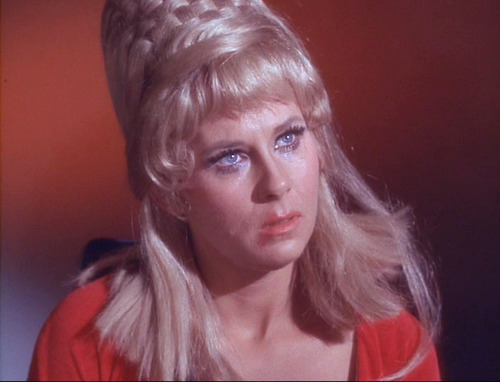Janice Rand in tears, eye makeup smudged