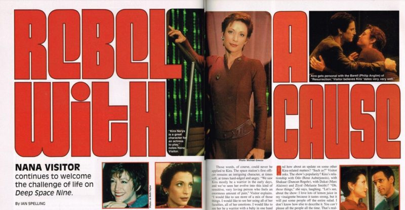 "Starlog spread with photo of Kira and ""Rebel With a Cause"""
