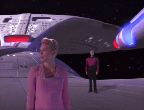 Amanda and Q on the back of the Enterprise