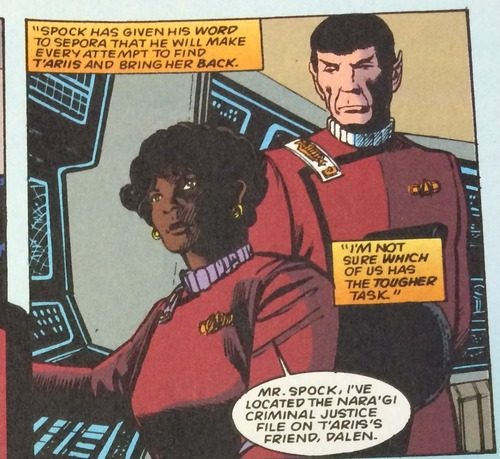 Uhura locates a signal for Spock